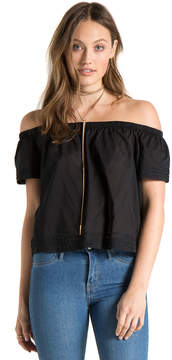 Bella Dahl Pintuck Off Shoulder Top-Black-XS