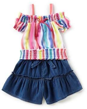 Flapdoodles Little Girls 2T-6X Stripe Cold Shoulder Top & Skirt Set
