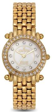Croton Ladies Goldtone Quartz Watch with Mother of Pearl Dial & Diamond Markers