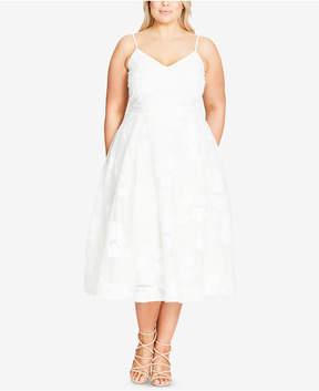 City Chic Trendy Plus Size Floral-Applique Fit & Flare Dress