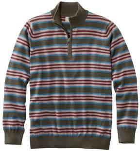 L.L. Bean L.L.Bean Cotton/Cashmere Sweater, Quarter-Zip Stripe