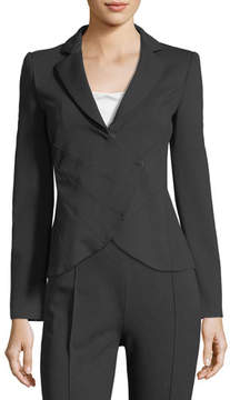 Emporio Armani Notched-Lapel Asymmetrical Ruched Jacket