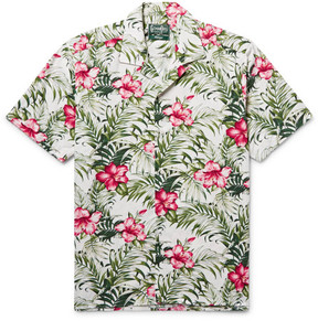 Gitman Brothers Camp-Collar Floral-Print Cotton-Blend Shirt