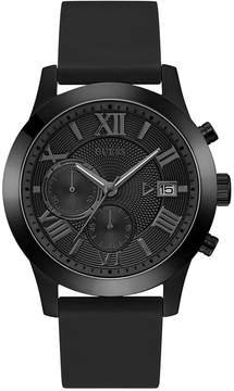 GUESS Men's Chronograph Black Silicone Strap Watch 45mm