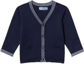 Mayoral Navy Knit Cardigan with Herringbone Trim