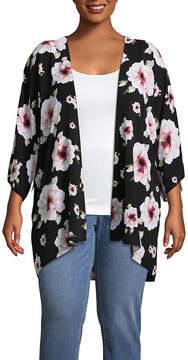 Boutique + + Short Sleeve Floral Kimono - Plus