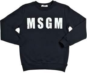 MSGM Distressed Logo Print Cotton Sweatshirt