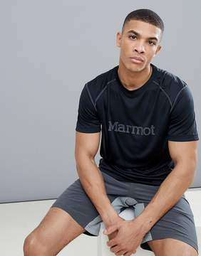 Marmot Active Windridge SS Running T-Shirt With Chest Logo in Black/Cinder