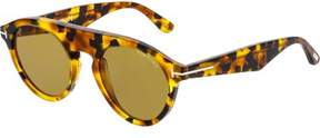 Tom Ford FT0633-55E-49 Brown Oval Sunglasses