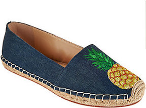 C. Wonder As Is Embroidered Pineapple Denim Espadrilles