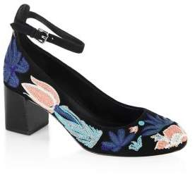 Rebecca Minkoff Billie Floral Embroidered Leather Pumps