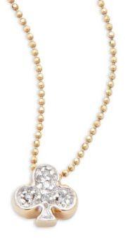 Alex Woo Little Vegas Diamond & 14K Yellow Gold Club Necklace