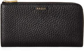 Bally Black Leather Zip-Around Wallet