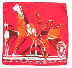 Hermes Calèche Élastique Silk Pocket Square