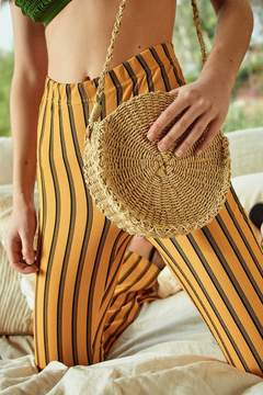 Urban Outfitters Small Circle Straw Round Crossbody Bag