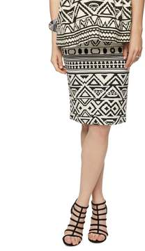 A Pea in the Pod Under Belly Black White Print Pencil Fit Maternity Skirt