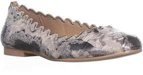 DKNY Willow Scalloped Ballet Flats, Metallic Floral.
