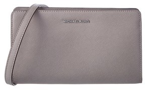 MICHAEL Michael Kors Large Leather Crossbody Clutch. - GREY - STYLE