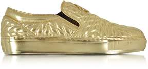 Roberto Cavalli Laminated Nappa Star Quilted Leather Slip On Sneakers