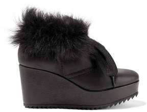 Pedro Garcia Ubon Shearling-lined Leather Wedge Ankle Boots - Black