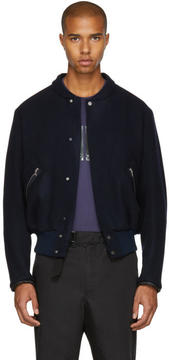 Oamc Navy Felted Bomber Jacket