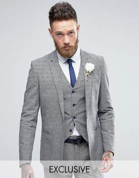 ONLY & SONS Skinny Wedding Square Hem Suit Jacket In Dogstooth