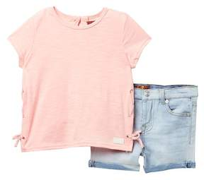 7 For All Mankind Lace Side Top & Shorts Set (Toddler Girls)
