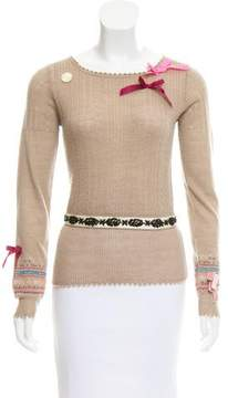 Christian Lacroix Bow-Accented Wool Sweater