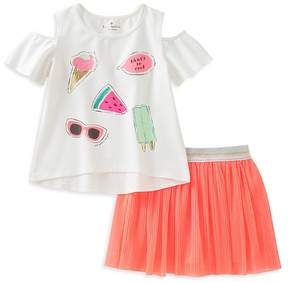 Kate Spade Girls' So Cool Cold-Shoulder Tee & Shimmer Skirt Set - Little Kid