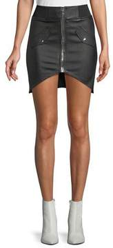 RtA Isla Lambskin Leather Zip-Front Mini Skirt