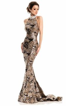 Johnathan Kayne 7238 Sequined High Halter Trumpet Gown