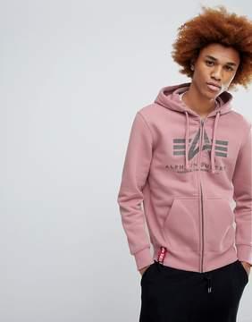 Alpha Industries X-Fit Hoodie Sweatshirt in Silver Pink