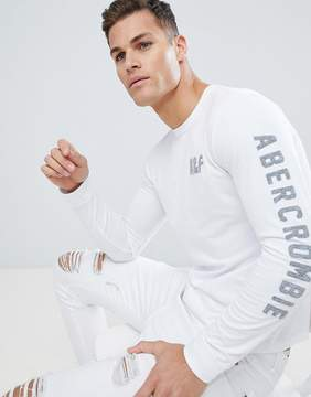 Abercrombie & Fitch Long Sleeve Top Slim Fit Legacy Print in White