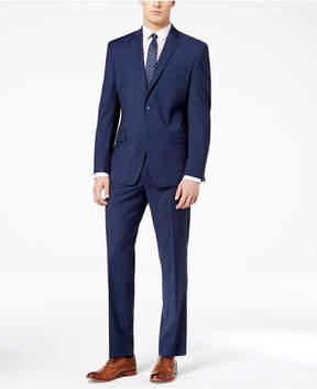 Andrew Marc Men's Classic-Fit Stretch Dark Blue Tic Suit