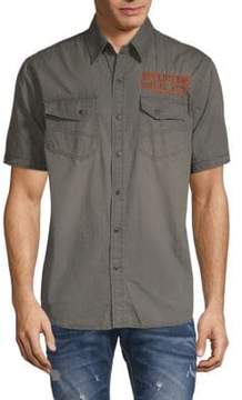 Affliction Prospect Embroidered Cotton Shirt