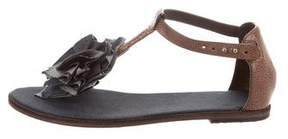 Brunello Cucinelli Leather Ruffle-Trimmed Sandals