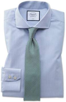 Charles Tyrwhitt Slim Fit Non-Iron Natural Cool Blue Stripe Cotton Dress Shirt Single Cuff Size 15/33