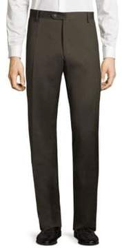 Saks Fifth Avenue BLACK Flat-Front Solid Wool Pants