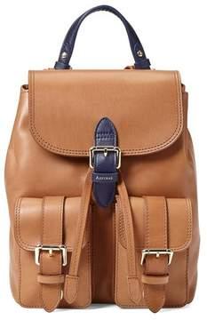 Aspinal of London | Small Oxford Backpack In Smooth Natural Tan Navy | Smooth natural tan