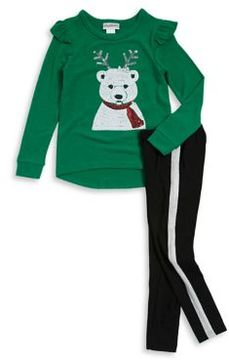 Flapdoodles Little Girl's Two-Piece Polar Bear Sweater and Pants Set