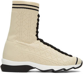 Fendi Beige Sock High-Top Sneakers