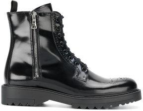 Prada brogue detail lace-up boots