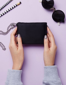 Monki Fold Over Chain Purse