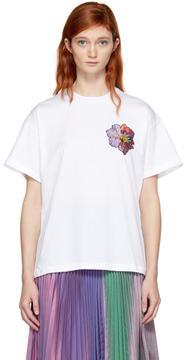 Christopher Kane White Sequin Flower Boyfriend Shirt