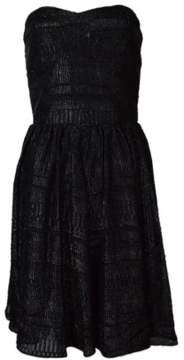 GUESS Women's Sasha Textured Metallic Chiffon Strapless Dress