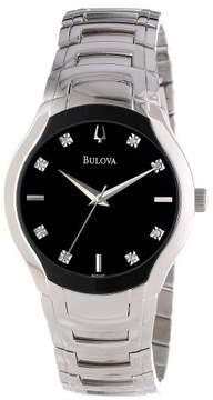 Bulova Diamond/Quartz Black Mens Watch 96D117
