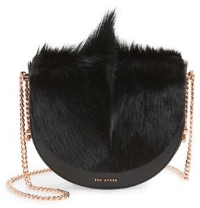 Ted Baker Alisonn Leather & Genuine Springbok Fur Saddle Bag - Black