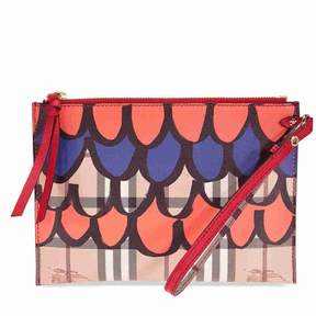 Burberry House Check and Leather Continental Wallet - Poppy Red