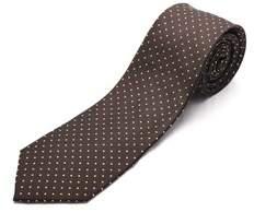 Luciano Barbera Men Slim Silk Neck Tie Brown Gold.
