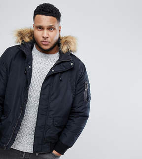 ONLY & SONS PLUS Padded Jacket With Removable Faux Fur Hood